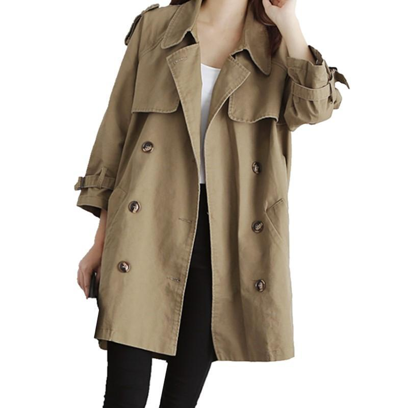 2020 new spring autumn women coat fashion casual solid color women double-breasted trench coat loose female overcoat outerwear