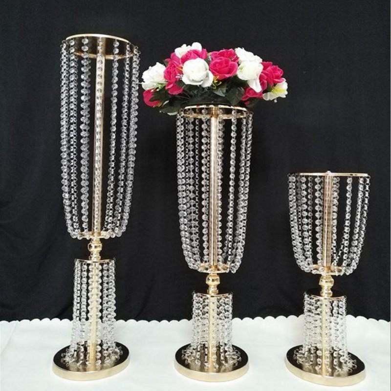 Acrylic Crystal Wedding Table Centerpiece Vase Gold Silver Color Flower Ball Holder Metal Candlestick Wedding Event Party Decoration