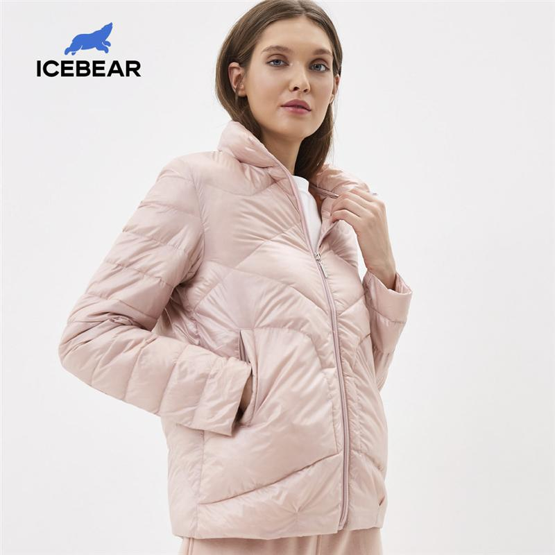 Icebear 2020 Женщины Весна Легкая куртка Стильная Повседневная Женская Куртка Женский Воротник Женщины Parka LJ201120