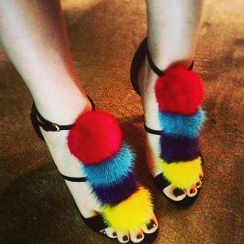Kürk Bayanlar Topu Güzelleştirilmiş Stiletto Sandalet Düğün Parti Saç Ayakkabı Saç Renkli Saldırı C90F