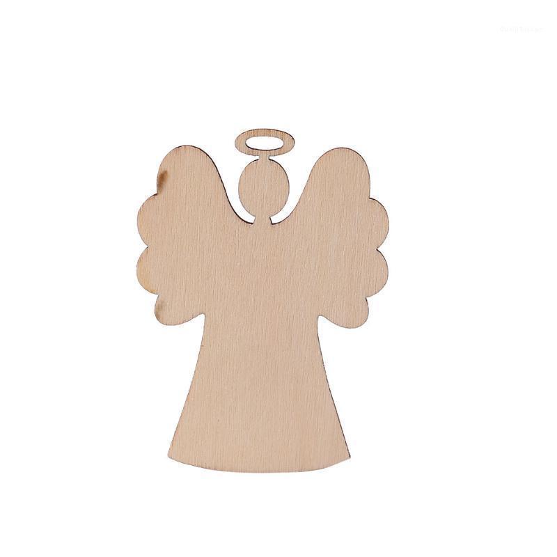 10 pcs esculpir a árvore de Natal de madeira pendurado decoração de pingente ano novo diy1