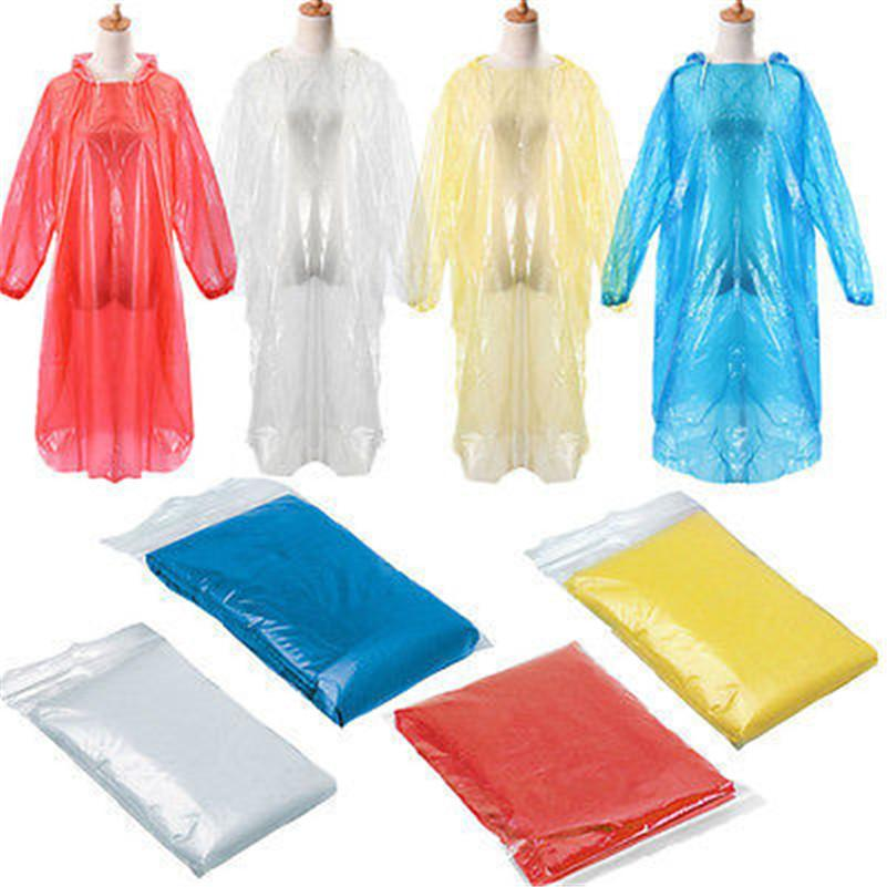 1pc Unisex Unisex Impermeable Desechable Adulto Emergencia Impermeable Capucha Poncho Viaje Camping Must Coat Lluvia Castre Walkwear