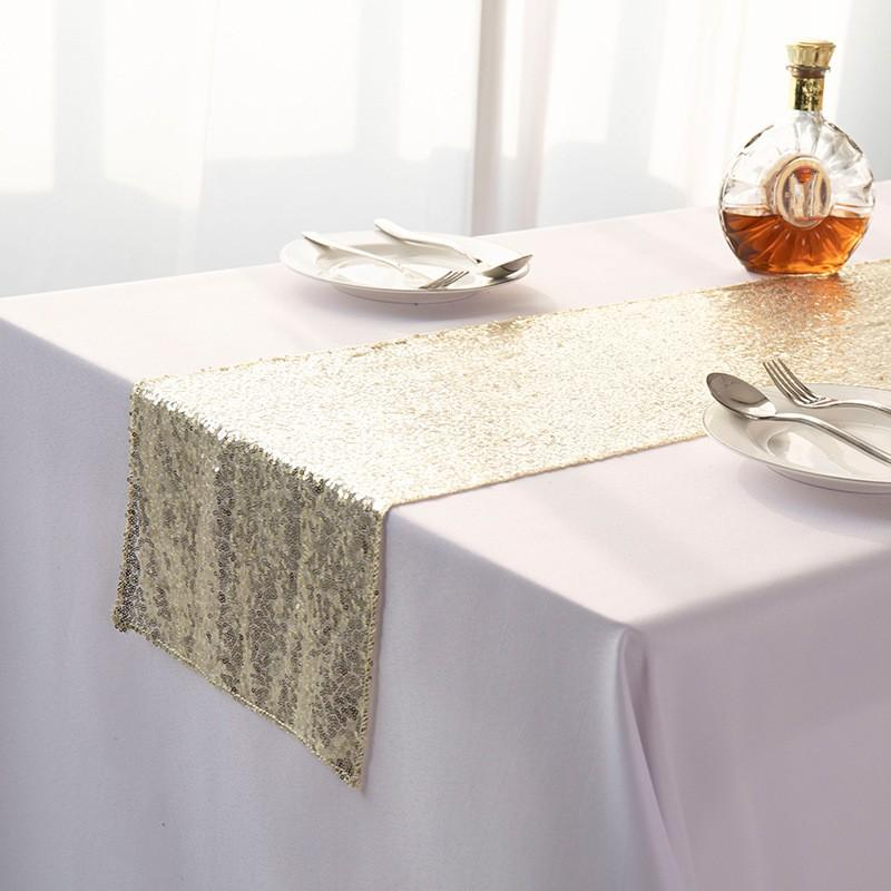 Solid Color Tables Flag Sequins Ornaments Table Runner Fashion Babysbreath Full Version Tablecloth Wedding Supplies Hot Sale 10 5xn K2