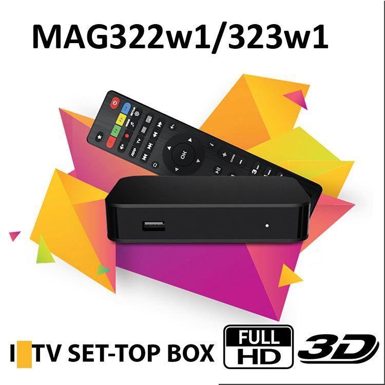 MAG 322 W1 Build in WiFi Último Linux 3.3 OS Set Set Top Box MAG322 HEVC H.265 Box Smart Media Player