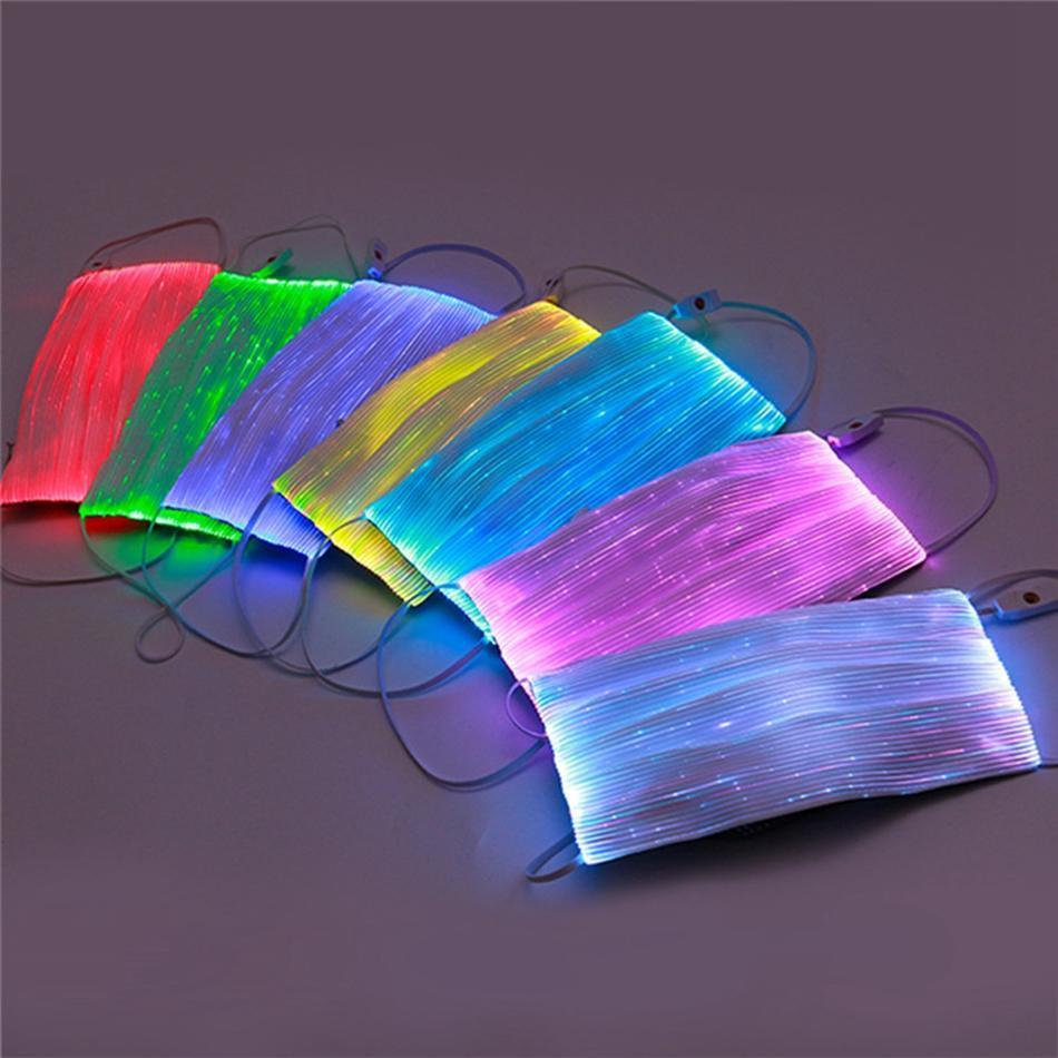 Fibre LED Optique Coloré Charge USB Coloré Masques lumineux Masque Masque Couvercle de fête Émoulement Masque Masquerade Masquerade Lumière Bouche rougeoyante HWC414 Seon