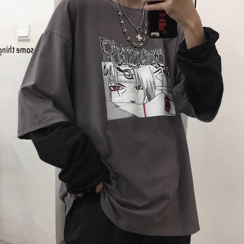 Nicemix Хлопок Наруто футболка для стрижки на улице амин печать мужчины женщин осень с длинным рукавом свободная футболка мультфильм япония футболки 201028