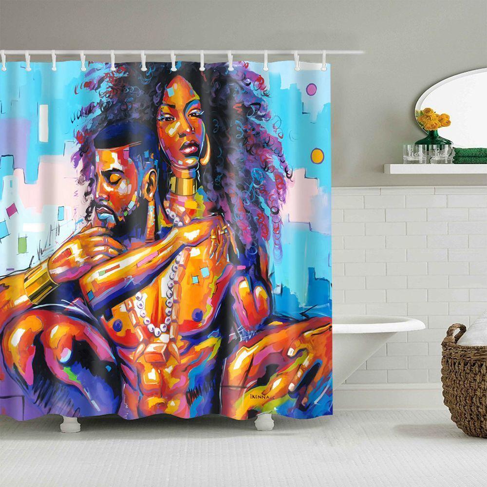 Dafield Afrikanische Duschvorhang Afroamerikanervorhänge Schwarze Frau Afro Kunstdruck Wasserdichte Polyestergewebe Badezimmer T200711