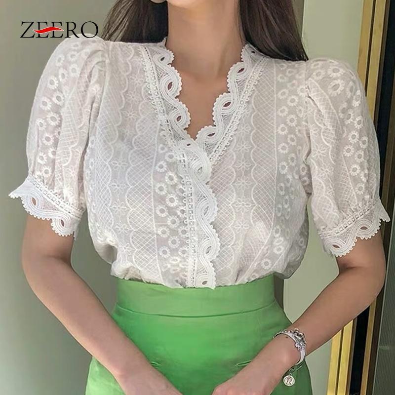 Kore yaz 2021 kollu v boyun patchwork kadın dantel gömlek kadın rahat vintage bluz blusas mujer mahsul beyaz üst