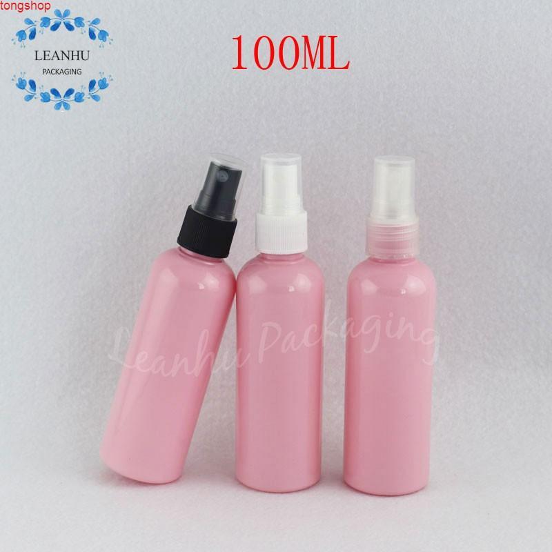 100 мл розовая пластиковая бутылка с распылительным насосом, тонер-тонер 100CC / упаковка воды пустой косметический контейнер (50 шт / лот) хорошая кклонность