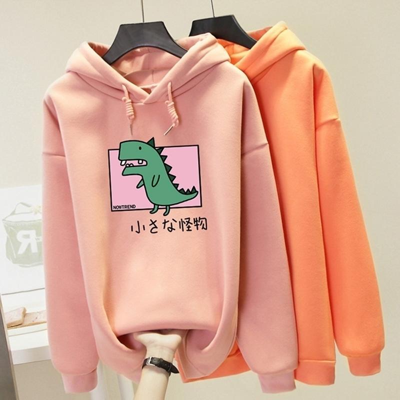 Plus Size Harajuku Hooded Sweatshirt Women Dinosaur Printed Hoodies Kawaii Top Spring Autumn Casual Hoody Pullover Female 201202