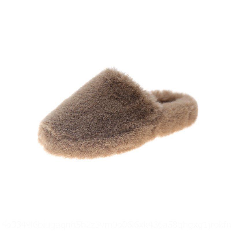 3HPF тапочки Faux 2020 зимние крытые дамы теплые дома женщины мех мужские горки милые хлопчатобумажные плюшевые дома колорит унисекс плюс размер обувь # 935