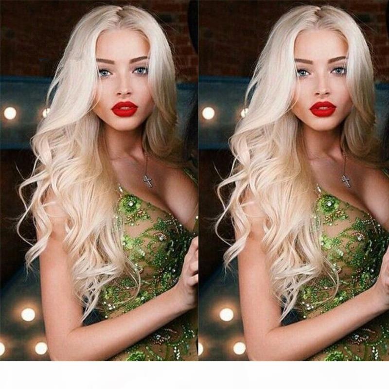 Couleur # 613 Gloupe pleine dentelle blonde de lace de cheveux humains perruque de corps de corps platine platine cheveux humains de dentelle avant avec une partie côté cheveux