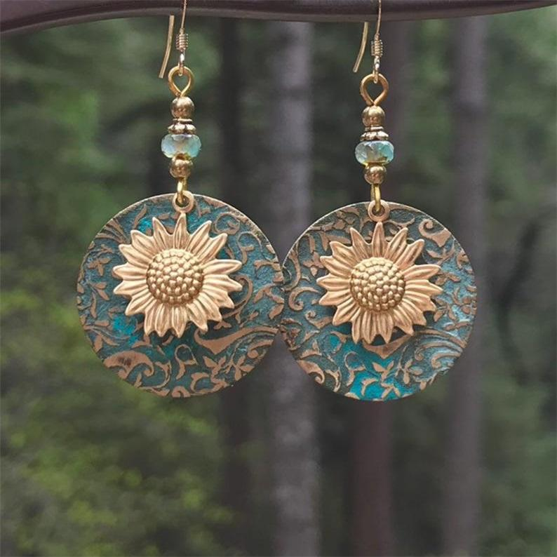 Brincos de girassol azul redondo orelha pingentes senhora deck deck brinco moda boêmio jóias retro liga venda quente 4spa p2