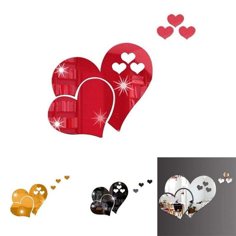 Love Heart Shaped Sticker Solid Color 3D DIY Wall Stickers Home Furnishing Art Decorate Mirror Room Decor 2 2cr L2