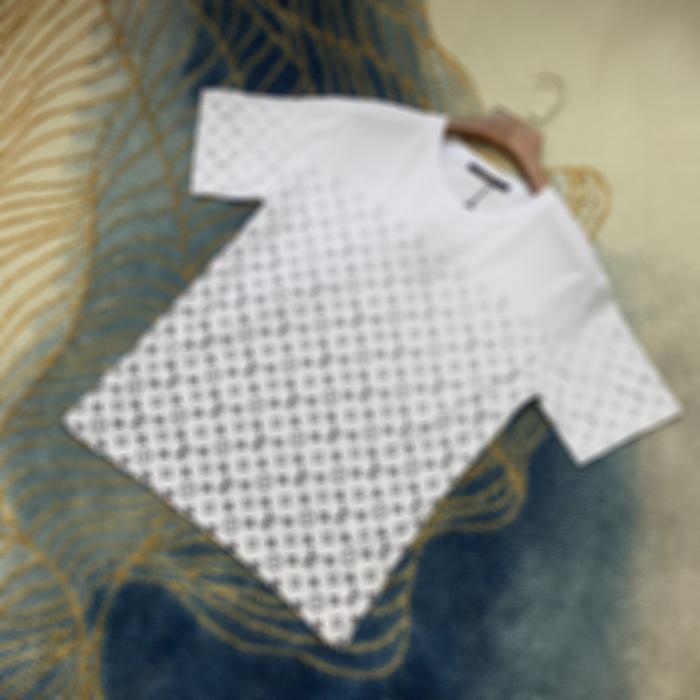 Mans Designer Spring Summer Gradient lettres Tee T-shirt Mode Hoodies Hommes Femmes Casual Coton T-shirts Noir Gris 06