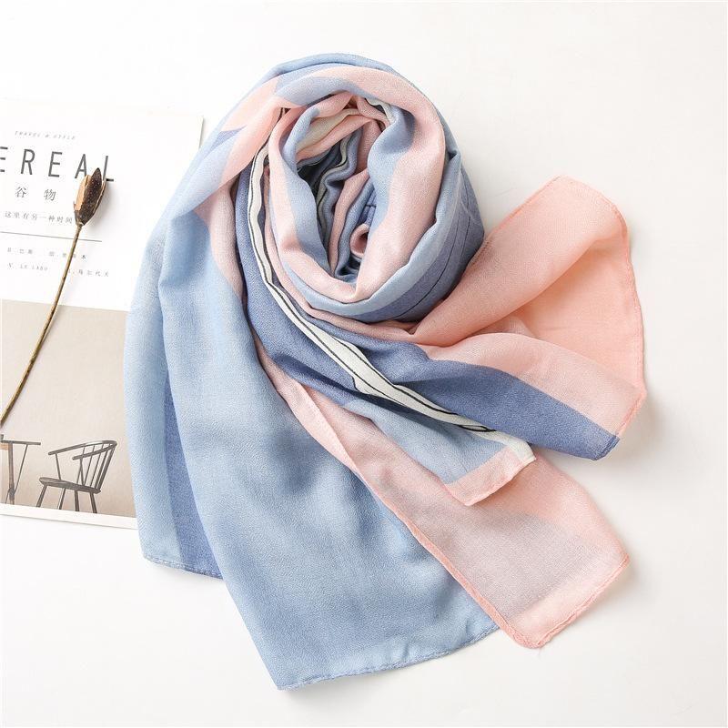 2020 Frauen Neue Mode Farbe Blockierte Viskose Schal Schal Spanien Marke Designer Schalldämpfer Stirnband Sjaal Muslim Hijab Snood 180 * 90 cm