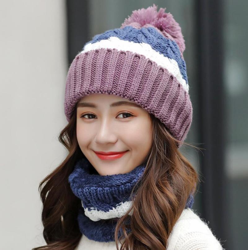 Шапочки / черепные колпачки зимние шляпы женщины толстые вязаные теплые шапочки шапочки нагрудник женский ветрозащитный велосипедные шерсть шить