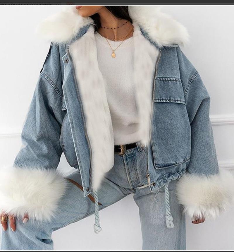 Winter Jeansjacke Frauen Mode Dicke Warme Pelzkragen Gepolsterte Denim Jacken Vintage Streetwear Lose Baumwolle Jean Mantel Frauen