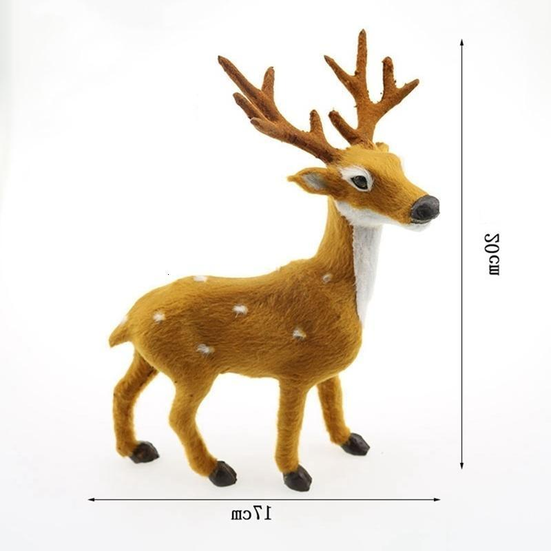 Sale Cute 4 Size Hot Decoration Plush Reindeer Furry Deer Home Christmas Ornament Happy New Year Gift H2tf