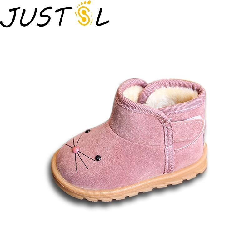 JUSTSL Winter New Children's Cartoon Mouse Boots Girls Boys Non-slip Snow Boots Baby Cotton Toddler Shoes plus Velvet Kids Boots Y1116