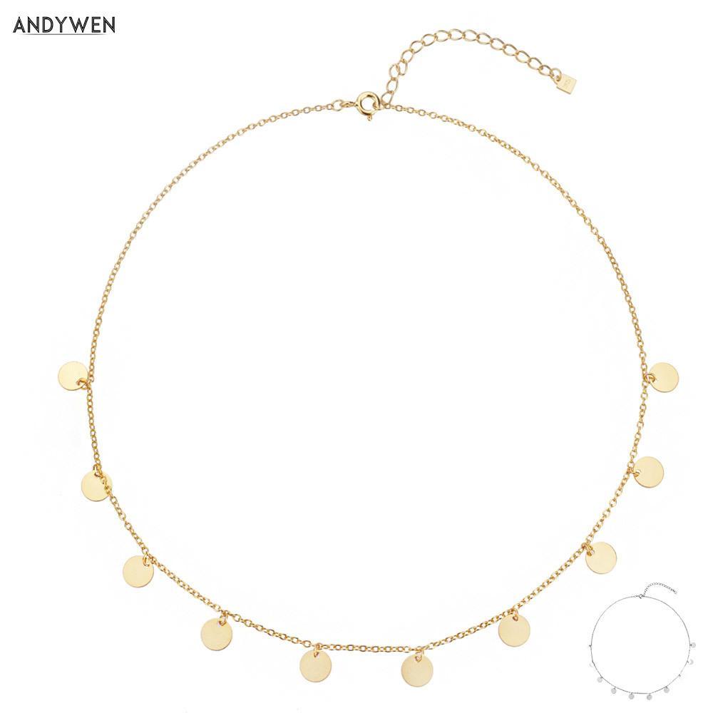 Andywen 925 Sterling Silber Gold Mehrere Münzen Anhänger Charm Choker Halskette Kette Frauen Europäischen Luxus Mode Fine Schmuck q1129