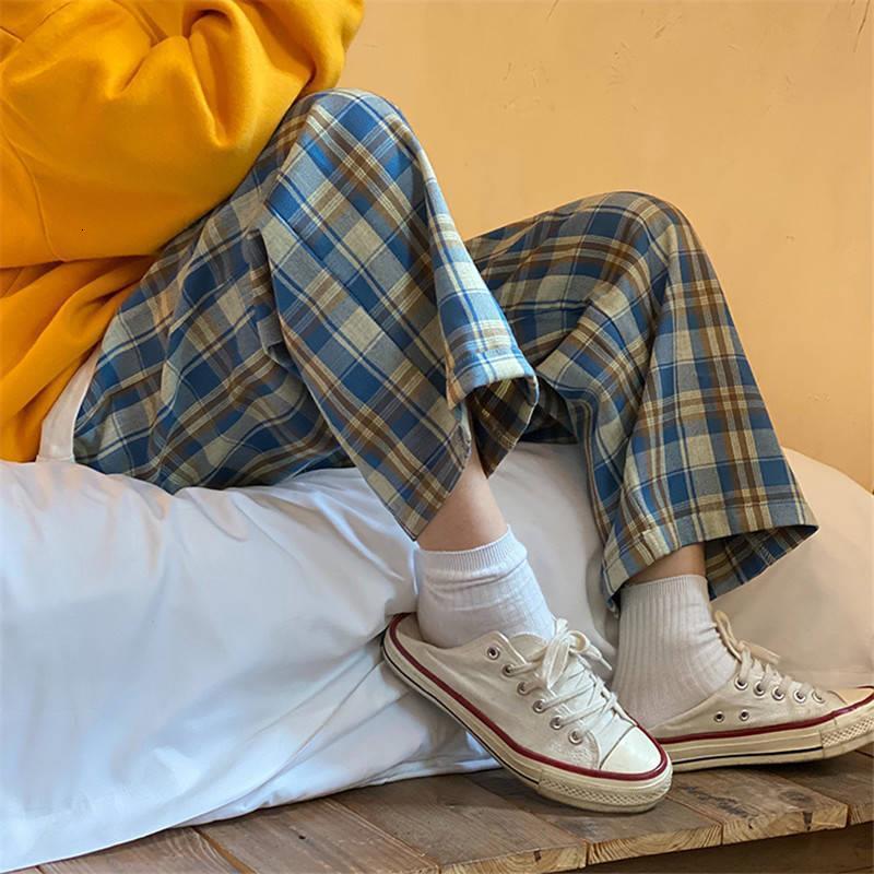 Spring and Summer Looth High Taille était mince Pantalon à carreaux large Pantalon de jambe droite Pantalon décontracté Femme Sports masculins Jogger Str