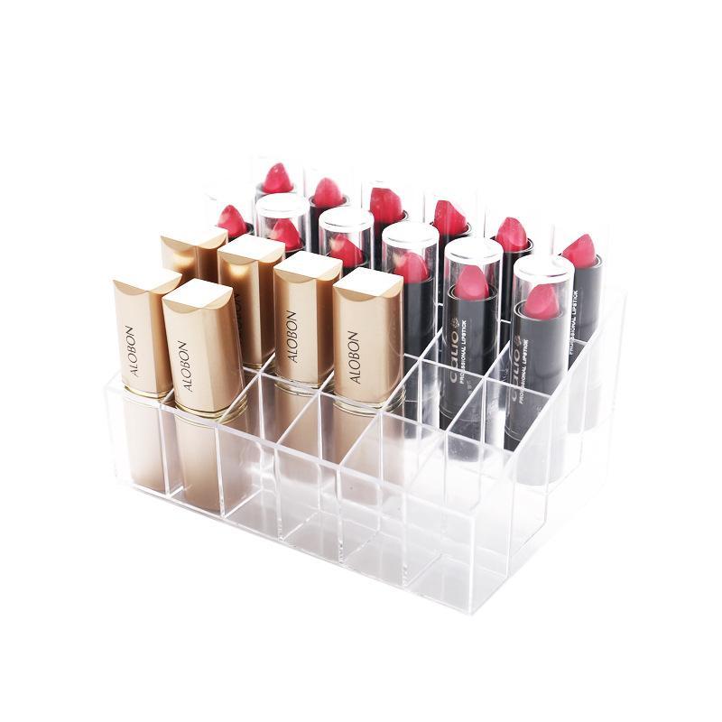 Aufbewahrungsbox 24 Lippenstift Halter Display Stand Klarer Acrylkosmetik Organizer Makeup Case Sunter