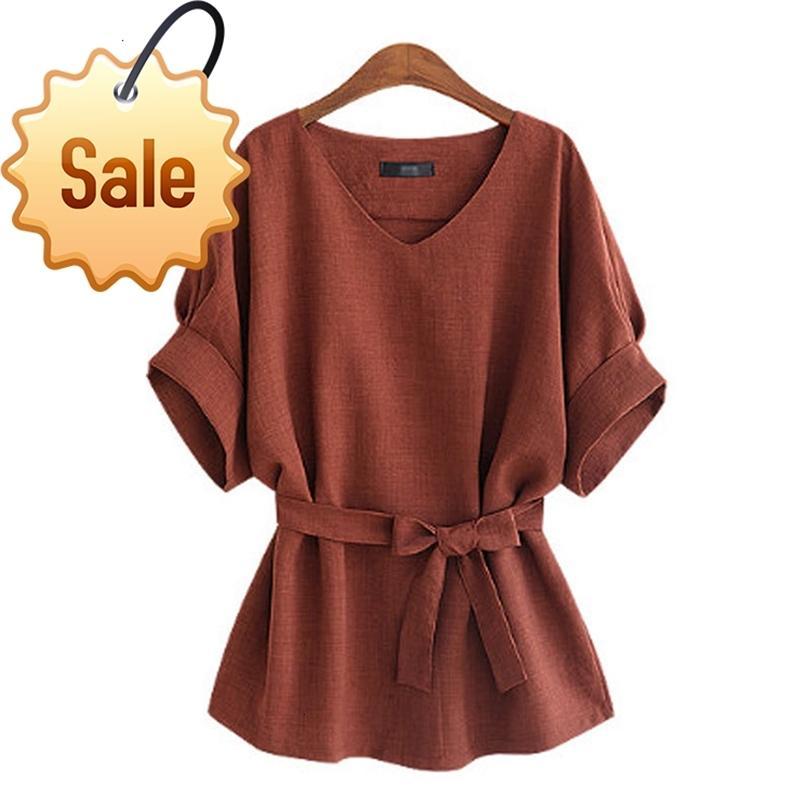 Yaz Kadın Bluzlar Keten Tunik Gömlek V Boyun Büyük Yay Batwing Kravat Gevşek Bayanlar Bluz Kadın Tops
