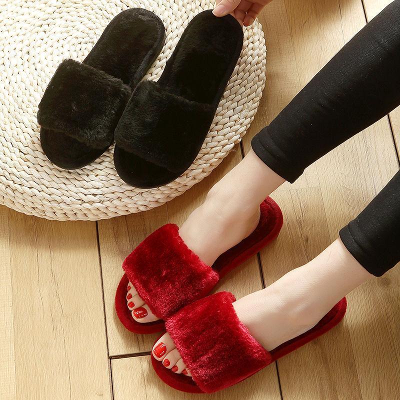 Hausschuhe 2021 Pelzträger Frauen Home Winter Warme Schuhe Frau Slip auf Wohnungen Weibliche Faux Pelz Großhandel