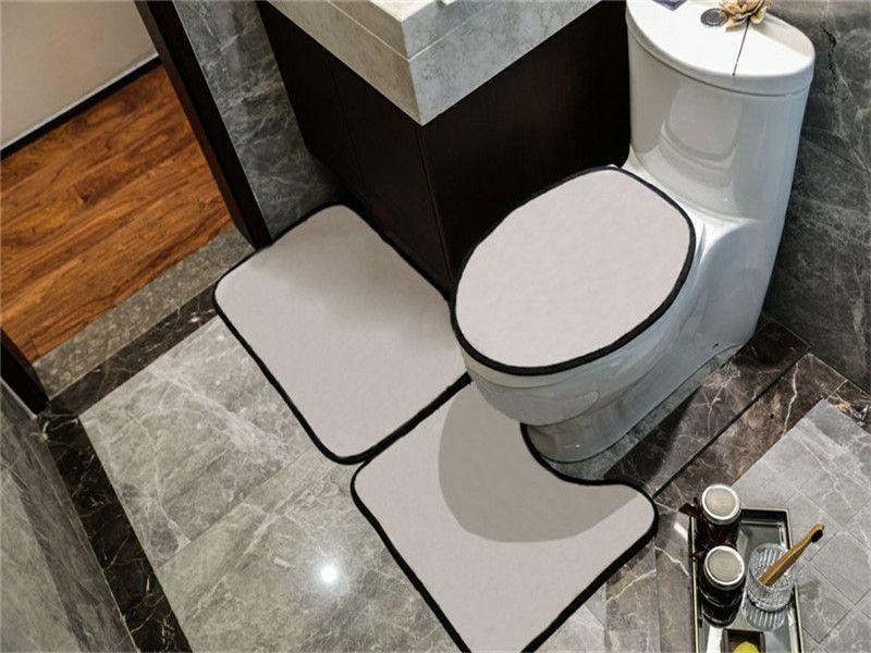 Casual Capas de Assento de Banheiro Simples Conjuntos de Porta Interior Tapetes U Mats Tapetes Eco Friendly Bathroom Accessorie Frete Grátis