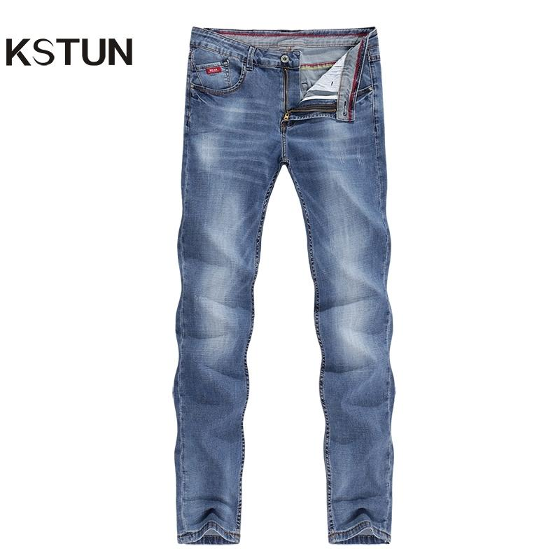 Mens Jeans Summer Thin Business Casual Straight Slim Fitness Elastic Light Blue Soft Gentleman Trousers Cowboys Jean Hombre 201120