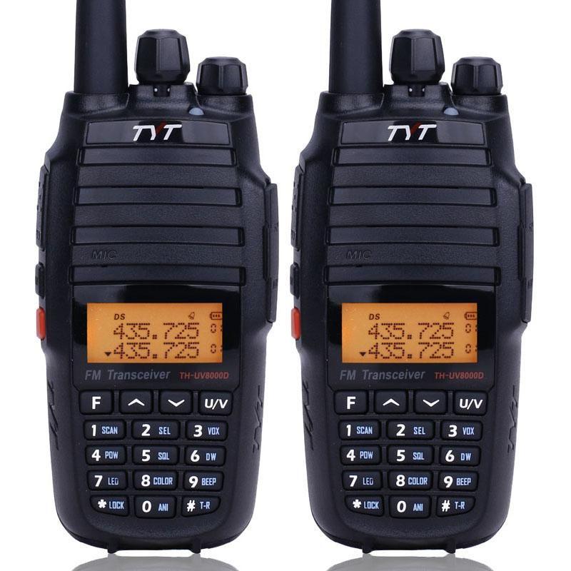 Walkie Talkie 2PCS TYT TH-UV8000D Talkie10W عالية الطاقة الفرقة المزدوج VHF UHF Comunicador 10 KMF 3600mAh عبر الفرقة