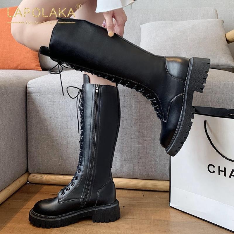 Lapolaka 2021 Совершенно новый мотоцикл сапоги женские туфли Шнурки ZIP Skid модный британский стиль удобные крутые модные ботинки дамы