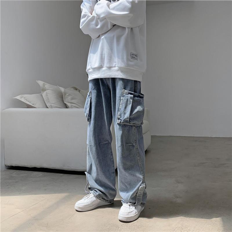 Mens Hip Hop Jeans lavado Calças Denim Oversized Vintage para Homens Big Bolsos Plus Size Granma Perna Calças