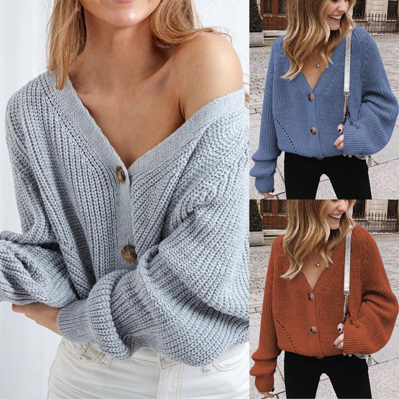 Women's Knits & Tees Long Women Cardigan Bat Sweater Full Sleeve Knitted V Neck Jacket Loose Ladies Autumn Winter Female Warm Clothing