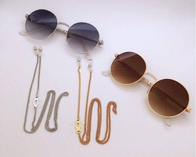 2pcs Sangle de chaîne de lunettes en métal de luxe de luxe avec lanière antidérapante Cordon de cordon de cordon de cordon de cordon