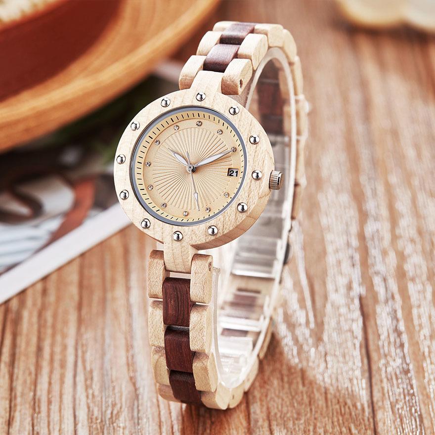 Pequeno banda relógio de madeira mulheres senhoras quartzo relógios de pulso rosa nogueira rosa rosa relógio de pulso elegante charme pulseira relógios j1205