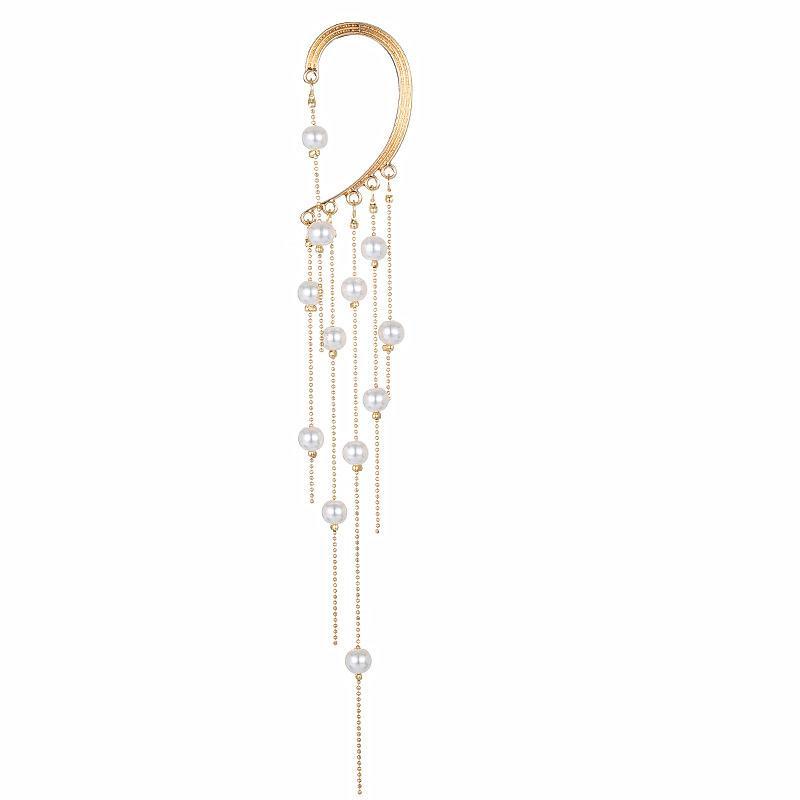 Nettorot übertriebene Nachahmung Perlen Quaste Ohrringe Langes Temperament-Persönlichkeit Keine durchbohrten Ohrclips können einzelne Tasche getragen werden