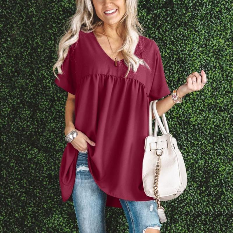 أزياء المرأة عارضة القمصان بلون فضفاض الخامس الرقبة قصيرة الأكمام قميص بلوزة اللباس الصيف المتناثرة قمم الإناث الملابس 2021