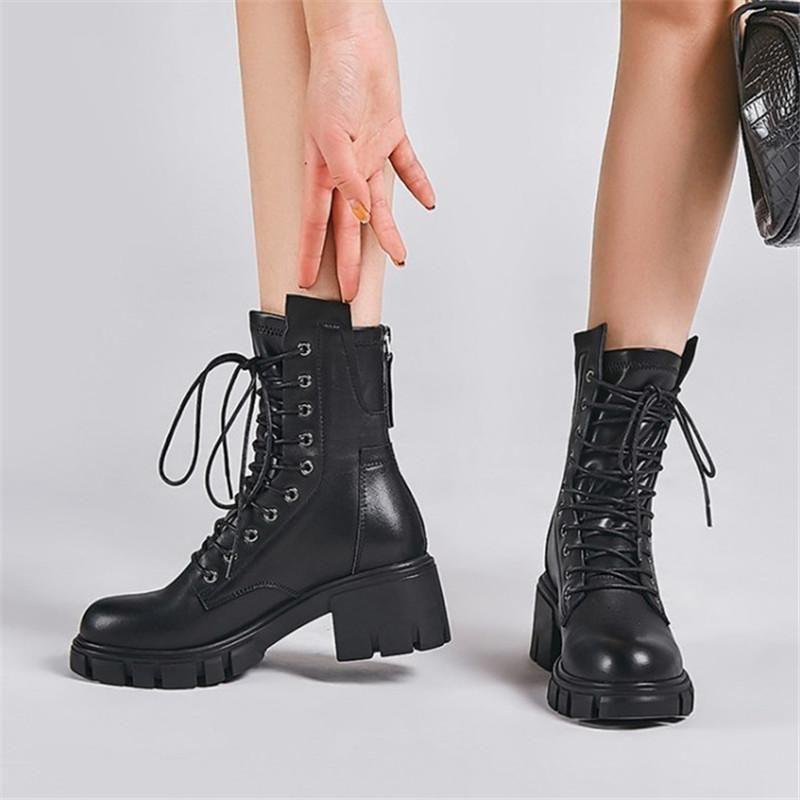 PXELENA NOUVELLES NOUVEAUX FEMMES Gothic Punk Rock Bottes Véritable Cuir Bloc Chunky Heels Combat Moto Bottines Bottes Lady Chaussures