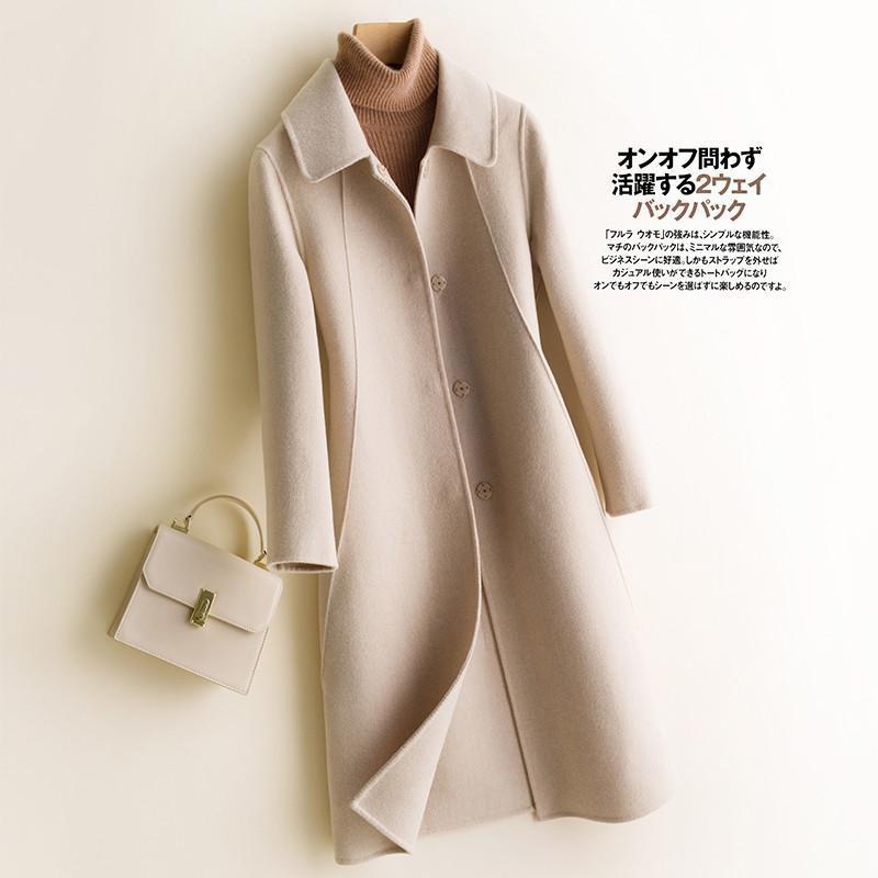 2020 Herbst Winter Neue Frauen 100% Wollmantel Doppelseitige Kaschmir Mantel Lange Lässige Weibliche Elegante Büro Dame Mantel R1018