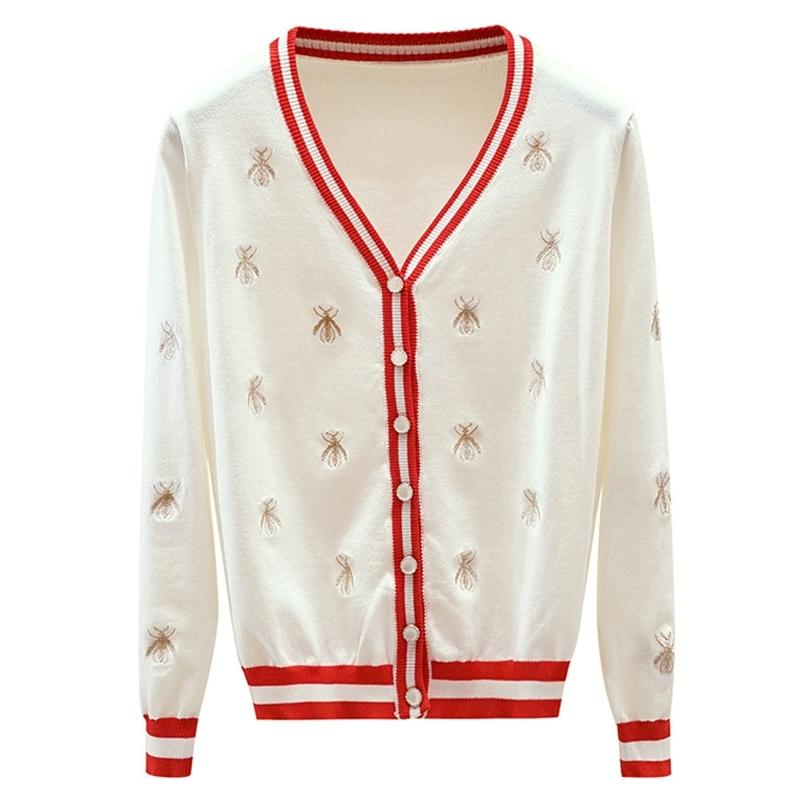 Alta Qualidade Sweater Fashion Designer Bee Bordado Cardigan Manga Longa Único Breasted Contrast Botão De Cor De Tricô Camisolas 20118