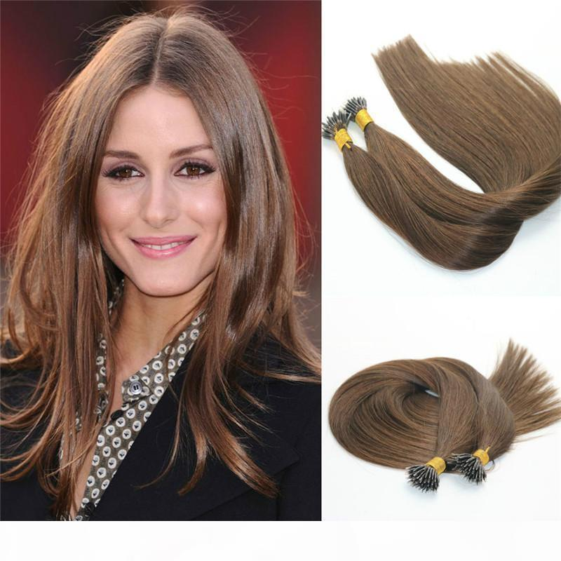 Remy Nano Ring Extensions # 4 Темно-коричневые Девы Бразильцы Человеческие Волосы Pre Соединенные Prelanded Mrrico Nano Beads Кольцо Петли Петля Extension Extension 1G Str