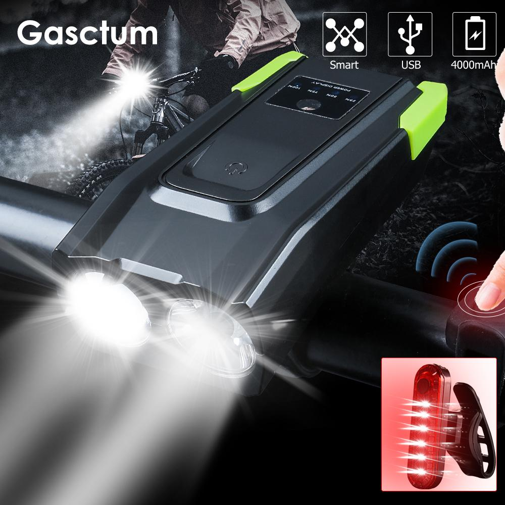 20000LM USB القابلة لإعادة الشحن الذكية دراجة ضوء التعريفي 4000mAh دراجة ضوء الجبهة مع القرن الصمام الدراجة مصباح ركوب الخيل الضوء الخلفي 201023