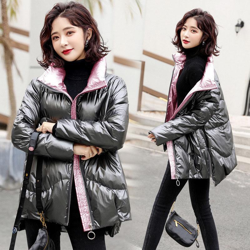 Nuevo estilo para mujer Stand-up Cuello suelto Pan Abrigo Brillante Cara Puffer Chaqueta Mujer Moda de moda de alta calidad Ropa de mujer gruesa