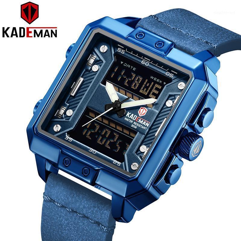 Kademan Новые Роскошные Квадратные Часы Мужчины Спорт Водонепроницаемые наручные часы Лучшие Бренд Двойное движение Повседневная Кожаные Часы Relogio1