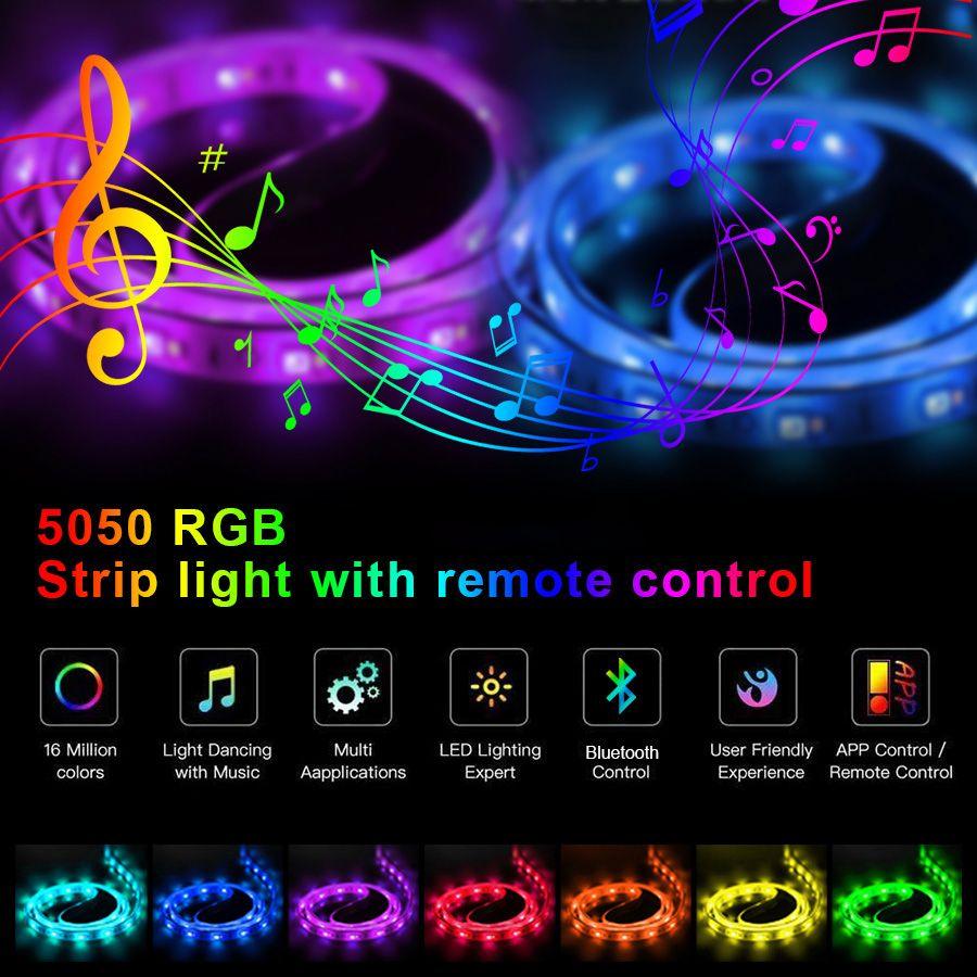 Luzes LED Luzes Bluetooth LED RGB 5050 SMD Flexibilidade Fita Impermeável Diodo 5M DC 12V Controle Remoto + Adaptador