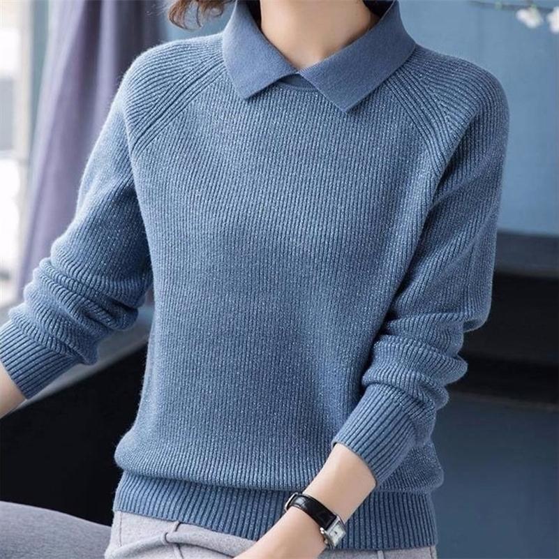 Отворотный свитер с длинным рукавом Женщины Свободные полосатые излишки сплошной цвет вязаные вязаные вязаные пуловеры джемперы женские весна 201201