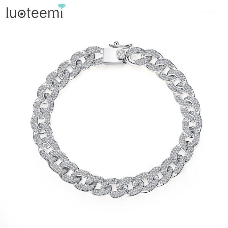 Luoteemi Mode Hohe Qualität CZ Kristall Bordsteinkubanische Kette Armbänder Für Frauen Weißgold Farbe Luxus Hochzeit Armband Schmuck