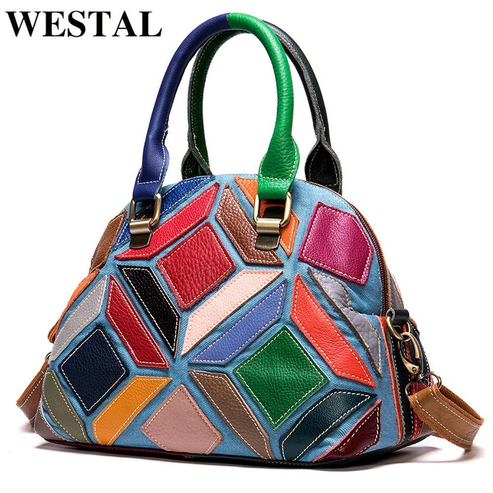 Westal для сумки женские женские сумки сумки дизайнерские подлинные кожаные лоскутные женщины сумки ручной женщины плечо 953 mkfje